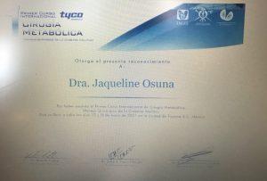 Dr. Jacqueline Osuna - Cirugia Metabolica Bariatric Surgeon in Mexico Certification